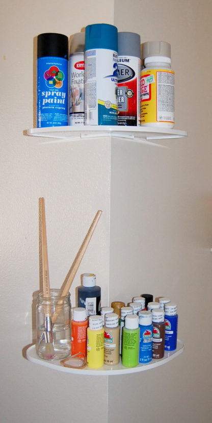 White Outer Corner Shelves CornerMate Shelving DIY Shelf